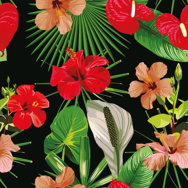 Красные цветы листья черный бесшовный фон Premium векторы