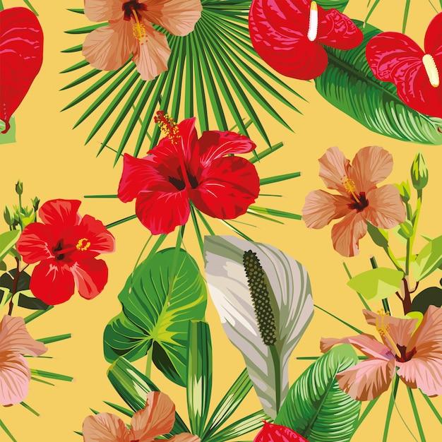 Красные цветы листья желтые бесшовные модели Premium векторы