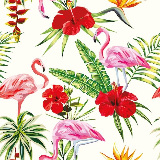 Тропическая композиция фламинго цветы и растения бесшовные модели Premium векторы