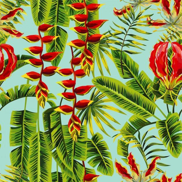 エキゾチックな花とバナナの葉の絵のシームレスパターン Premiumベクター