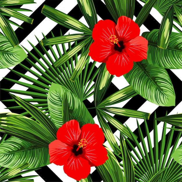 熱帯の花と葉のパターン Premiumベクター