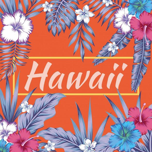 Гавайи слоган тропические листья гибискуса оранжевый фон Premium векторы
