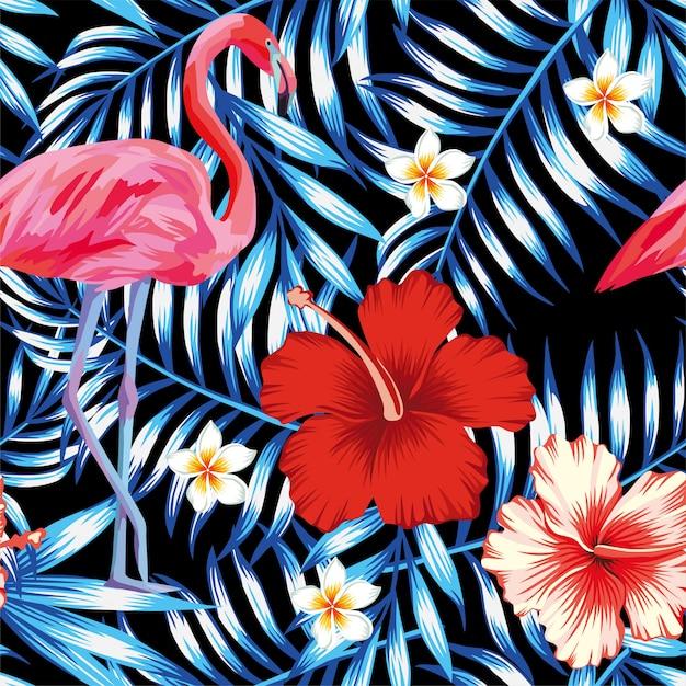 Гибискус фламинго плюмерия пальмовых листьев синий узор Premium векторы