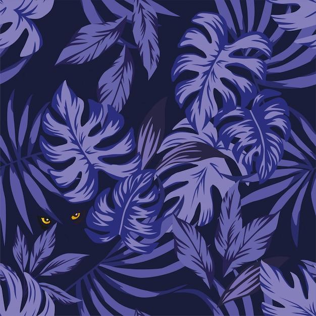 目のパンサーと夜の熱帯の葉のパターン Premiumベクター