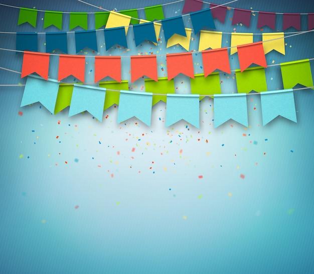 暗い青色の背景に紙吹雪とカラフルなお祭りフラグ。お祭りガーランド、 Premiumベクター