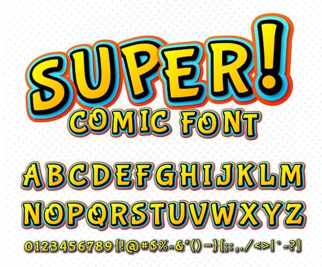 カラフルなコミックフォントです。ポップアートスタイルのベクトルアルファベットタイポグラフィ Premiumベクター