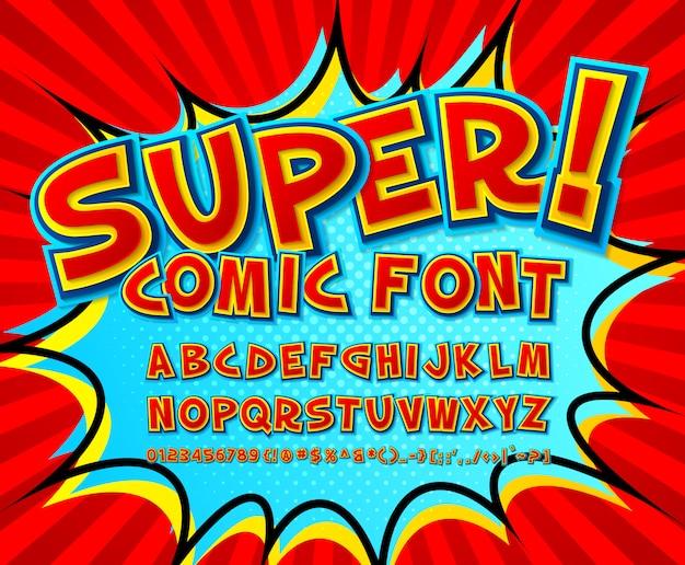 クールなコミックフォント、コミック本のスタイルで子供のアルファベット、ポップアート。多層面白い赤い文字と数字 Premiumベクター