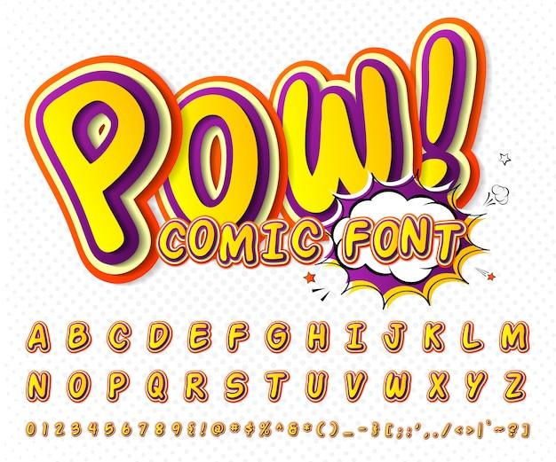 クールなコミックフォント、コミック本のスタイルで子供のアルファベット、ポップアート。多層面白いカラフルな文字と数字 Premiumベクター