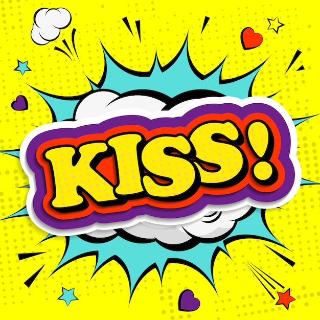 ポップアートやコミックスタイルでキスをする Premiumベクター