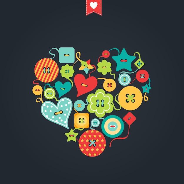 さまざまな形の色付きのボタン。創造的なグリーティングカード。幸せなバレンタインデー Premiumベクター