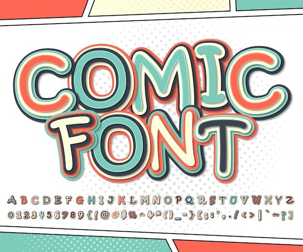 漫画とポップアートのスタイルで漫画のアルファベット。装飾漫画本ページの文字と数字のカラフルなフォント Premiumベクター