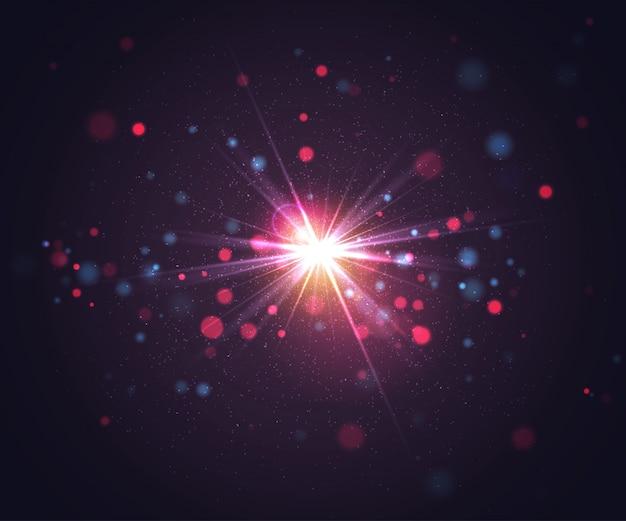 光とキラキラ粒子のフラッシュ。抽象的な背景 Premiumベクター