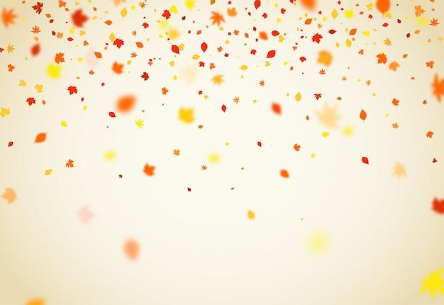 Осенний фон с падающими разноцветными листьями Premium векторы