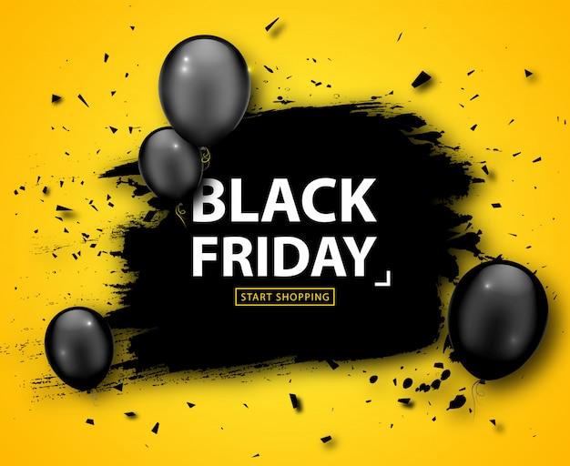 ブラックフライデーセールポスター。黒い風船と黄色の背景にグランジフレームと季節割引バナー。広告ショッピング、感謝祭の見切りの休日デザインテンプレート Premiumベクター