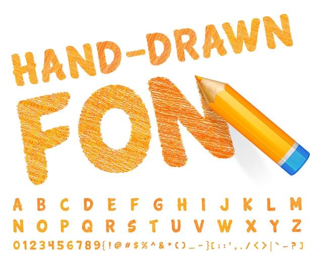 非常に詳細なオレンジ色の鉛筆で描かれたオレンジ色のフォント Premiumベクター