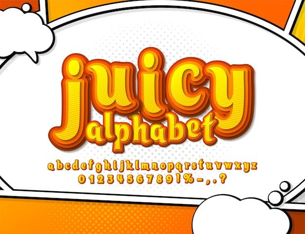 黄色とオレンジ色のコミックフォント。マルチレベルの漫画のアルファベット Premiumベクター