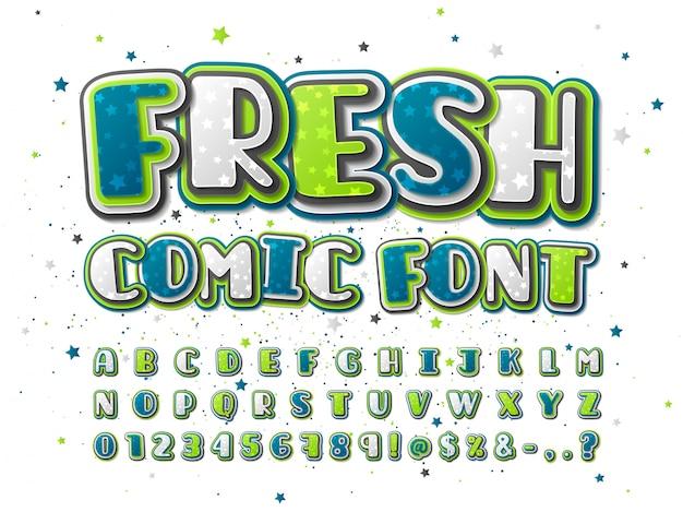 Красочный зеленый и синий комикс шрифт с рисунком звезды Premium векторы