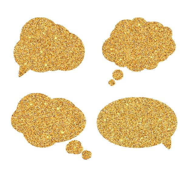 黄金のスピーチの泡のセットです。 Premiumベクター