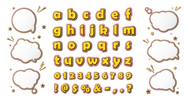 Комический шрифт, мультяшный алфавит и речевые пузыри Premium векторы