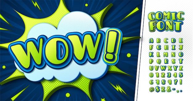 Зелено-синий шрифт комиксов, детский мультяшный алфавит Premium векторы