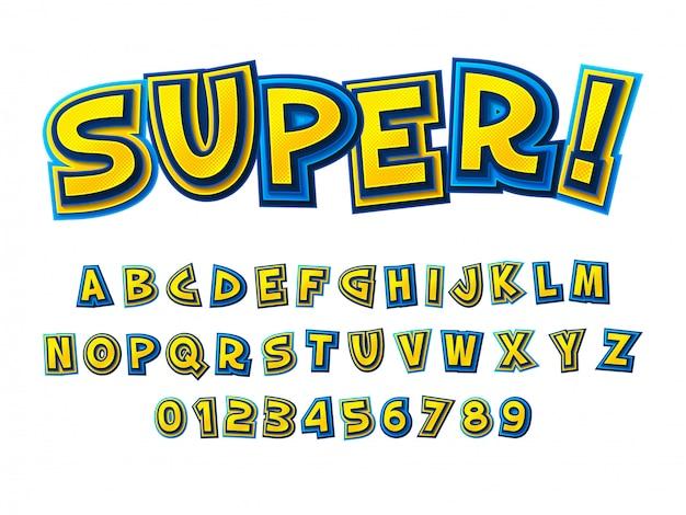 コミックフォント。漫画のような黄青アルファベット Premiumベクター