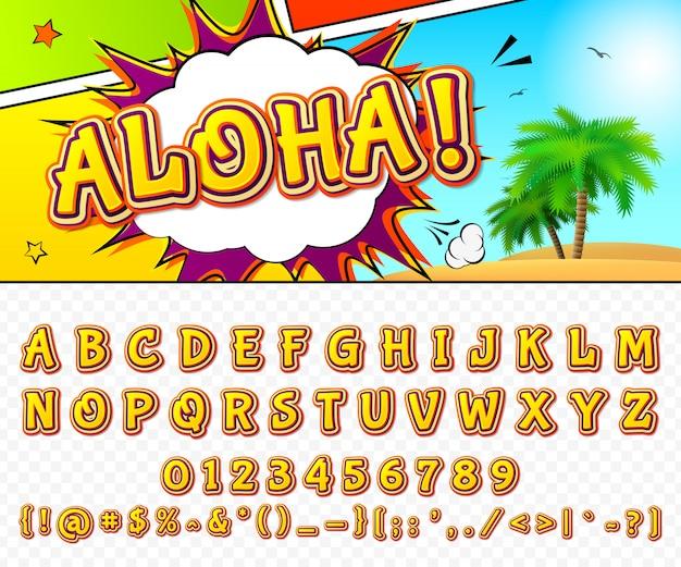 Комический шрифт мультфильм алфавит в стиле поп-арт. Premium векторы