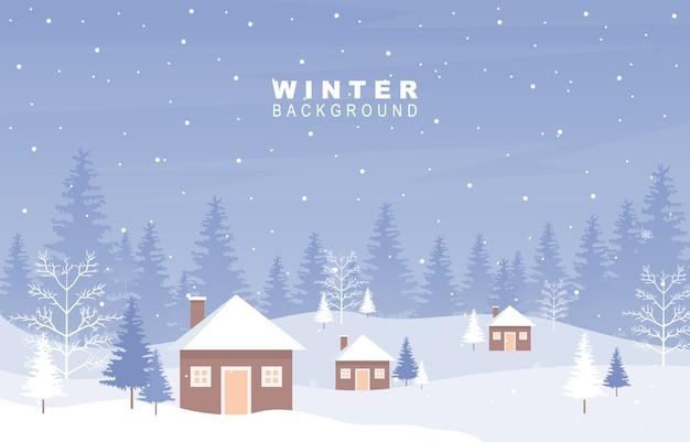 Фон снежный пейзаж Premium векторы