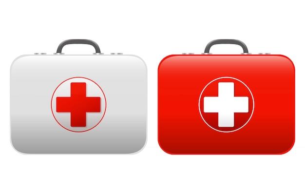 応急処置キットセット分離白 Premiumベクター