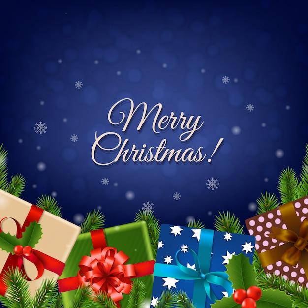 クリスマスレトロカード Premiumベクター
