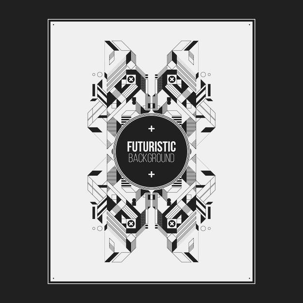 Плакат / дизайн шаблона печати с симметричным абстрактным элементом на белом фоне. полезно для обложек книг и журналов. Premium векторы