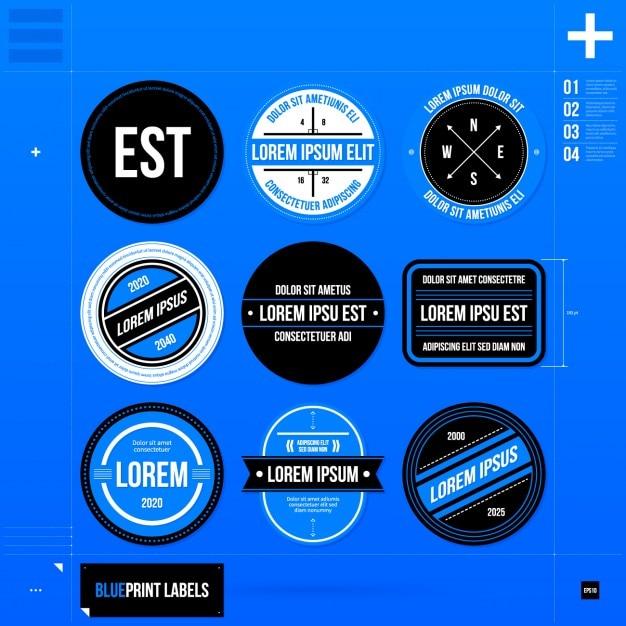 青色の円形のロゴテンプレートのコレクション 無料ベクター