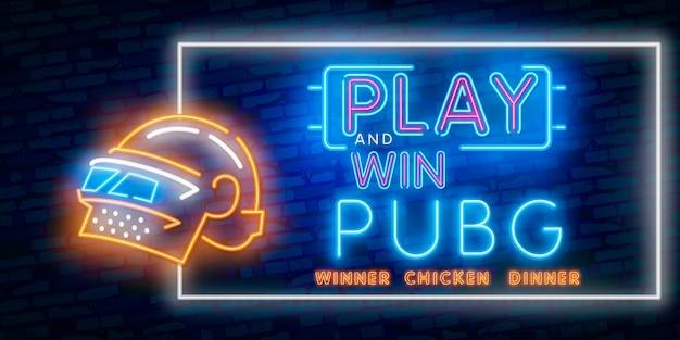 勝者勝者チキンディナーネオンサイン Premiumベクター