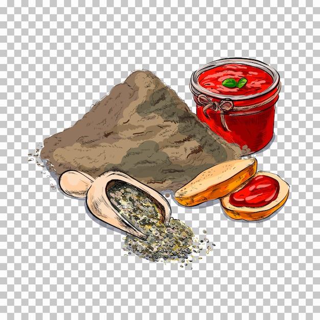小麦粉とベーキング。ケーキ、透明クッキー明るい漫画のスタイルで関連イラスト Premiumベクター