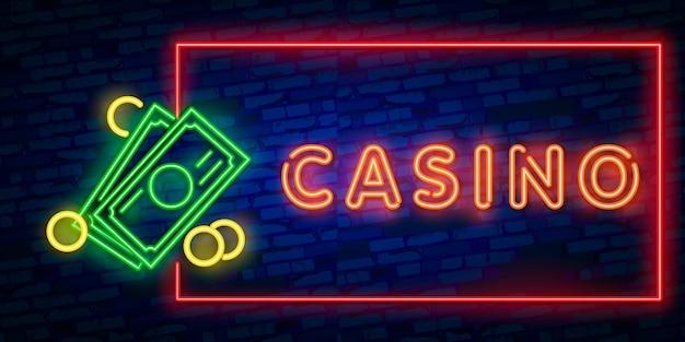 Реалистичные изолированные неоновая вывеска казино Premium векторы