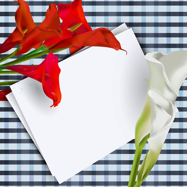 テーブルの上のテキストの白いシートとオランダカイウの花の組成物。 Premiumベクター