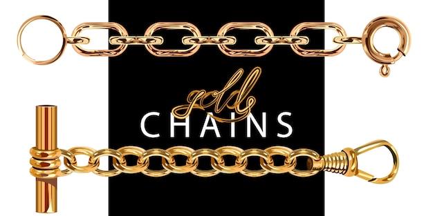 Золотые цепочки с застежкой. Premium векторы