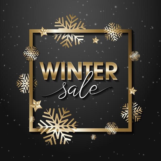 冬販売バナー Premiumベクター