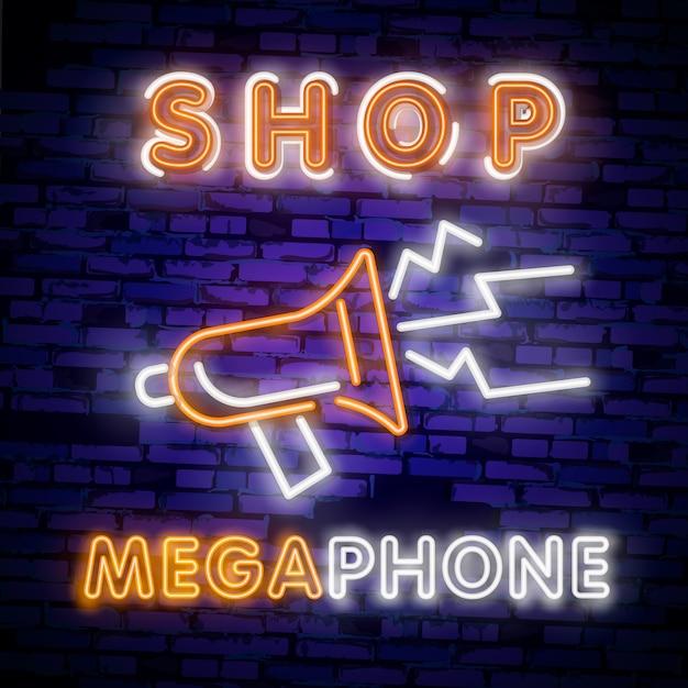 Мегафон неоновый свет значок. служба поддержки светящийся знак. Premium векторы