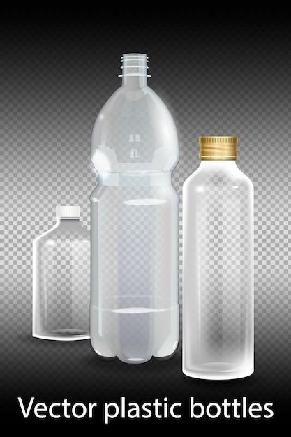 透明なアルファのミネラルウォーターの入ったペットボトル。 Premiumベクター