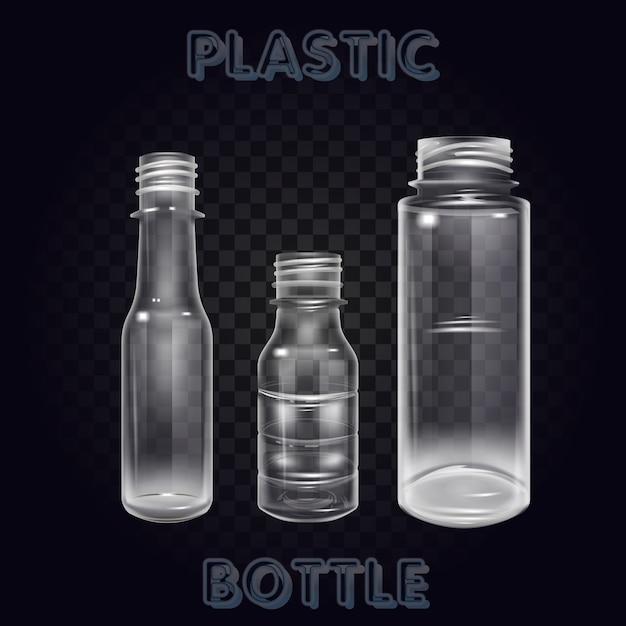 ベクトル現実的なプラスチック製の容器ミネラルウォーターボトル飲料分離された空のプラスチック製のボトル入り飲料飲料ミネラルベクトルプラスチックオブジェクト Premiumベクター