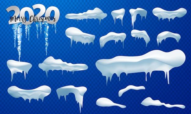 Снежные шапки, снежки и сугробы установлены. снежная шапка векторная коллекция. зимние украшения Premium векторы