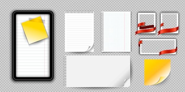 現実的なノートブックまたは分離されたバインダーとメモ帳。罫線入り用紙ページテンプレート付きのメモ帳または日記。 Premiumベクター