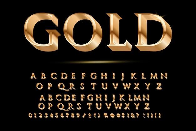 Золотой глянцевый векторный шрифт или золотой алфавит Premium векторы