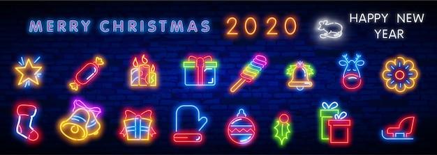 Рождественский неоновый значок набор. веселого рождества и счастливого нового года. Premium векторы