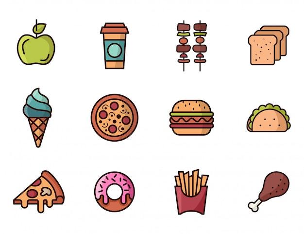 着色されたファーストフードのアイコンのセットです。ピザ、ハンバーガー、ドーナツ、タコス Premiumベクター