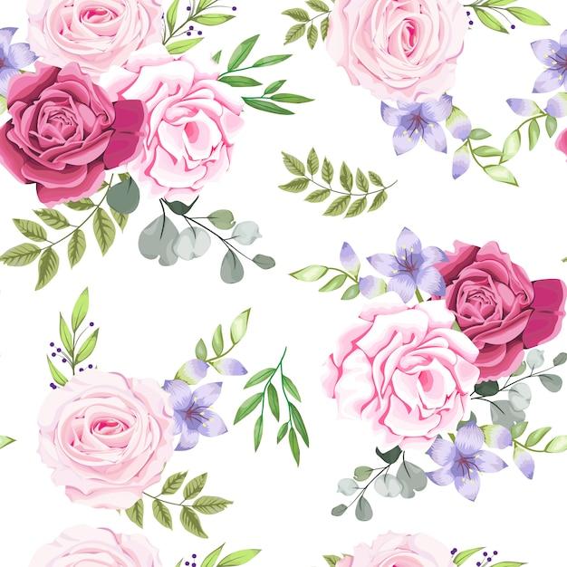 美しい花とのシームレスなパターン Premiumベクター