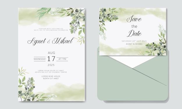 Красивые цветочные свадебные приглашения Premium векторы