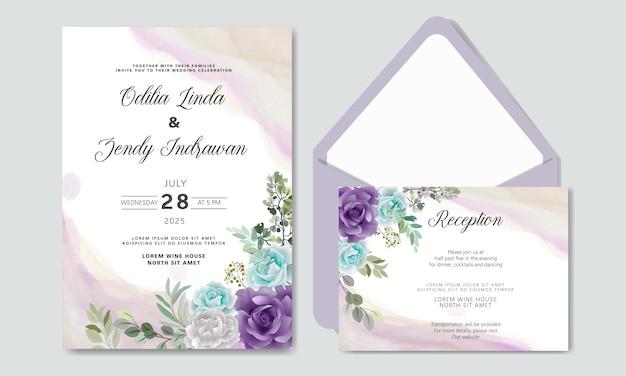 Свадебное приглашение с красивым и элегантным цветочным Premium векторы
