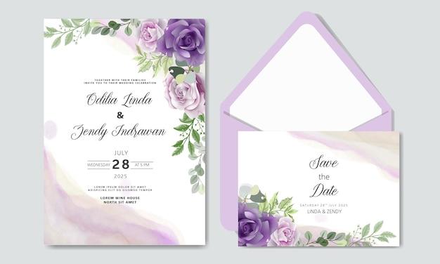 Свадебное приглашение с роскошью и красотой цветочных тем Premium векторы