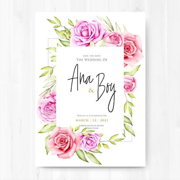 水彩花と葉のウェディングカード Premiumベクター